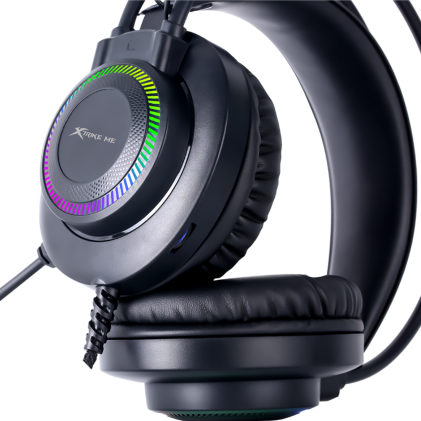 Cod.052 Headphone Stereo Gaming XTRIKE ME GH-509 / luces RGB /Micrófono omnidireccional/Control de Volumen/jack 3.5mm/USB(LuzLED)/Cable 2.1 mt./Black