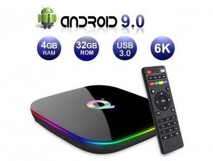 Cod.402 TV BOX Q PLUS /QUAD-CORE Cortex-A53/ 6K ULTRA HD/Wi-Fi/HDMI 2.0/H.265/LAN/USB 3.0/SD/Android 9.0/4GB RAM/32GB ROM