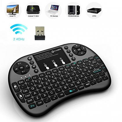 Cod.101 Mini teclado inalámbrico Portable, 2.4 G Wireless Touchpad /Retroiluminado de colores/Ergonómico. Smart TV, PC, Android TV Box